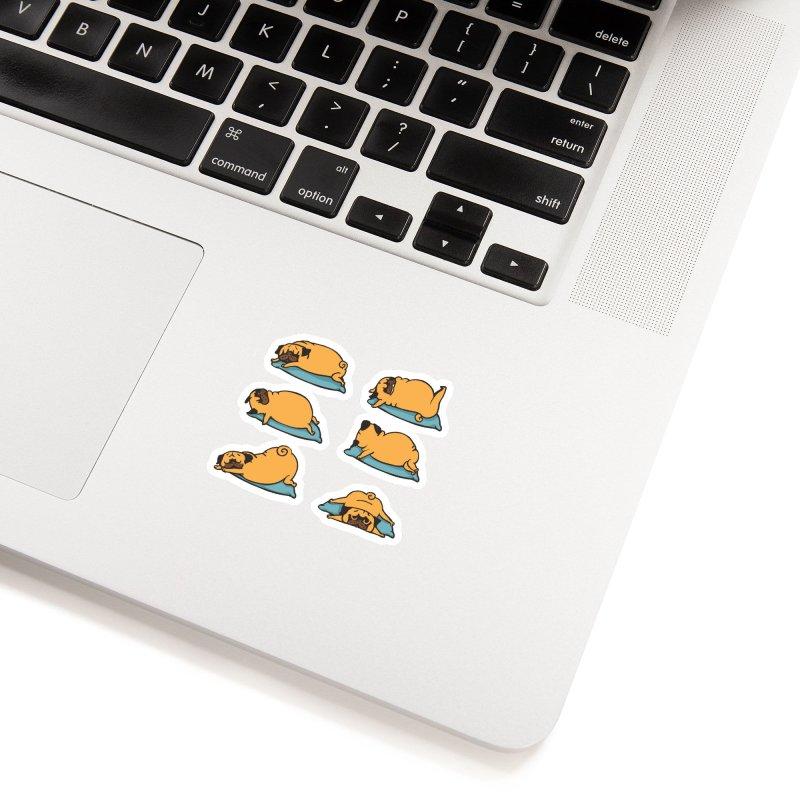 Pug Yoga for Better Sleep Accessories Sticker by huebucket's Artist Shop
