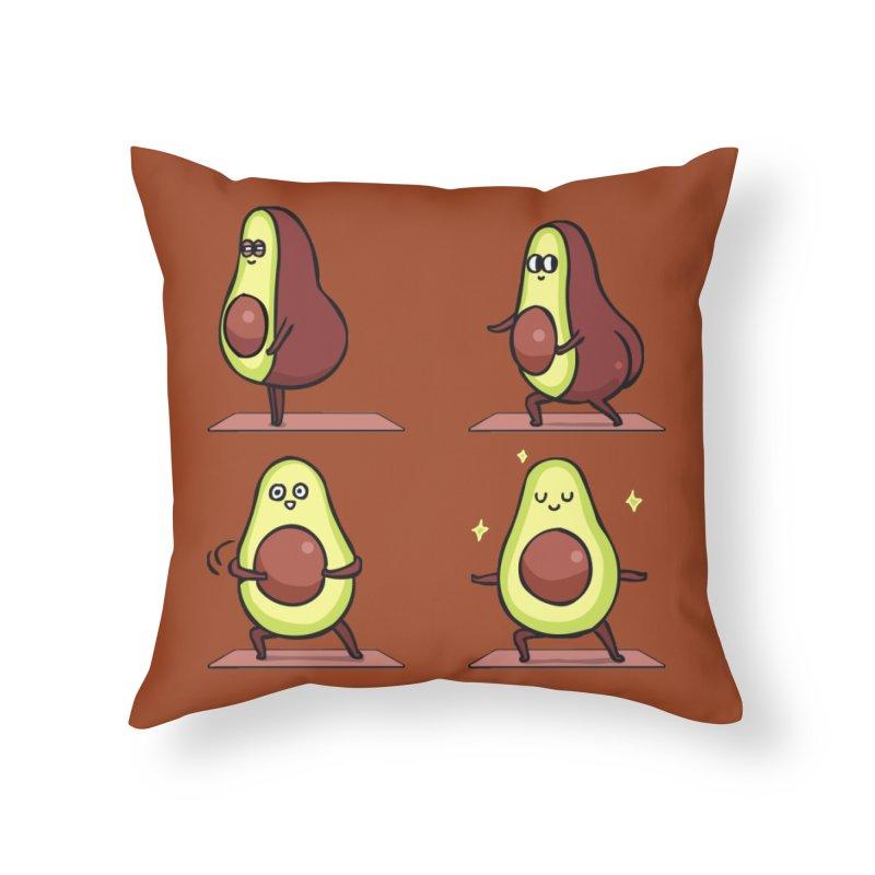 Warrior II Avocado Yoga Home Throw Pillow by huebucket's Artist Shop