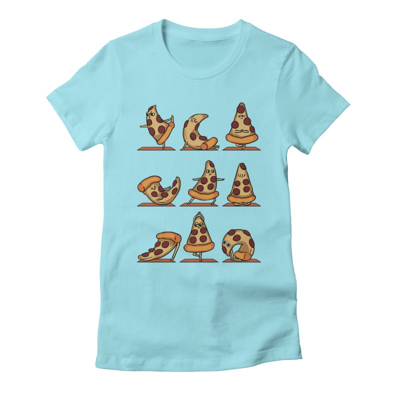 Pizza Yoga Women's Fitted T-Shirt by huebucket's Artist Shop