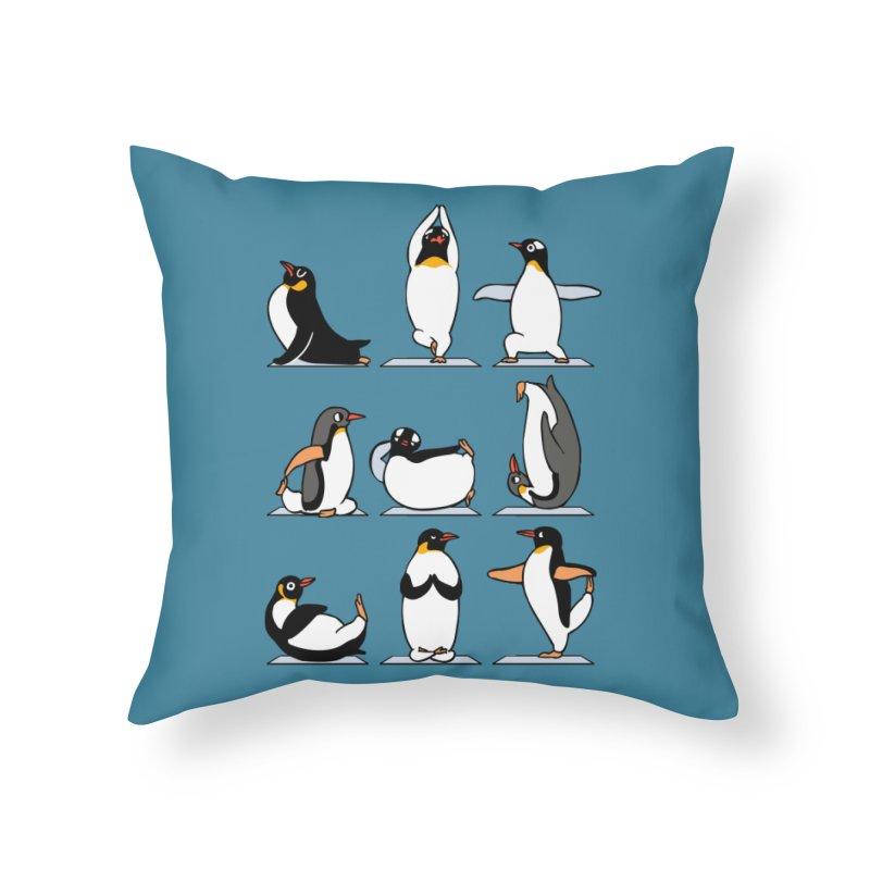 Penguin Yoga Home Throw Pillow by huebucket's Artist Shop