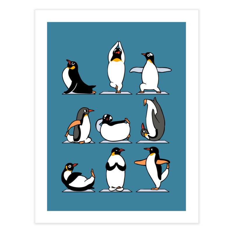 Penguin Yoga Home Fine Art Print by huebucket's Artist Shop