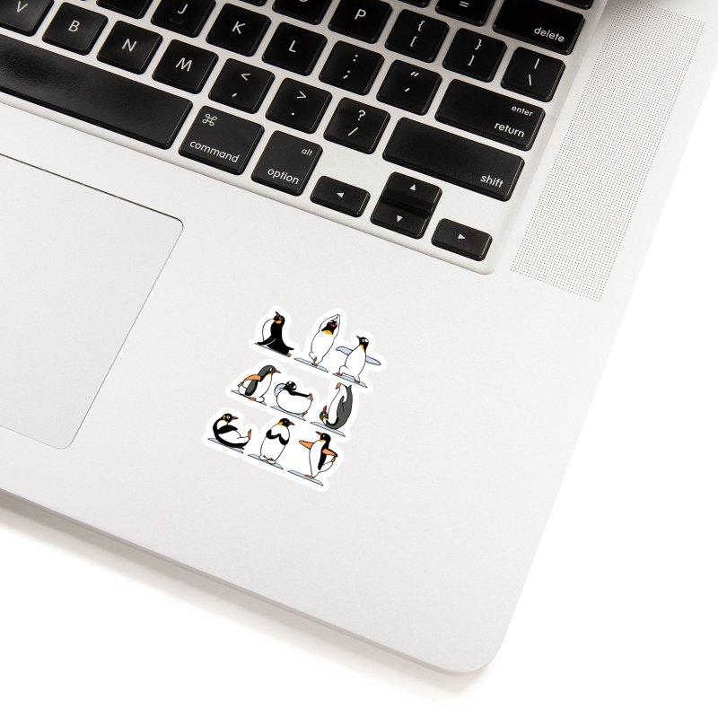 Penguin Yoga Accessories Sticker by huebucket's Artist Shop
