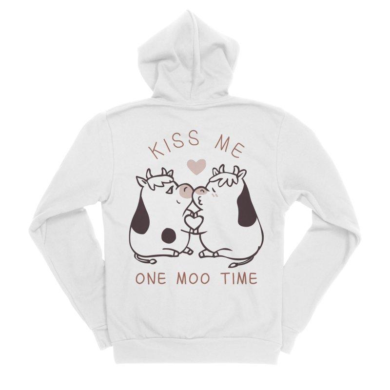Kiss me one moo time Women's Sponge Fleece Zip-Up Hoody by huebucket's Artist Shop
