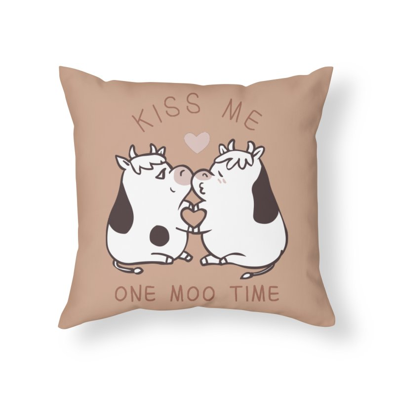 Kiss me one moo time Home Throw Pillow by huebucket's Artist Shop