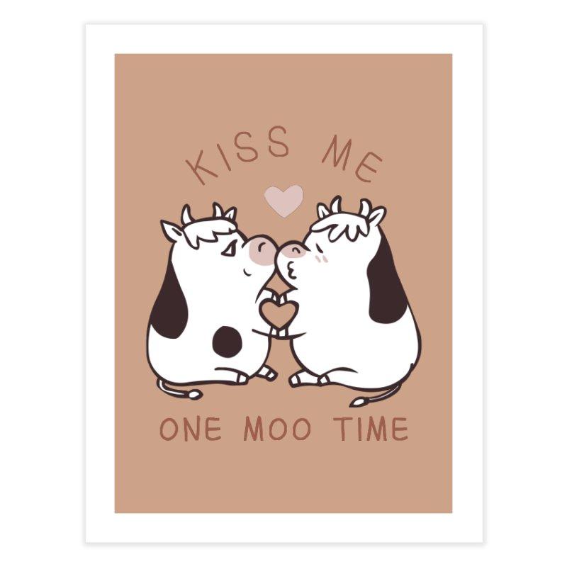 Kiss me one moo time Home Fine Art Print by huebucket's Artist Shop
