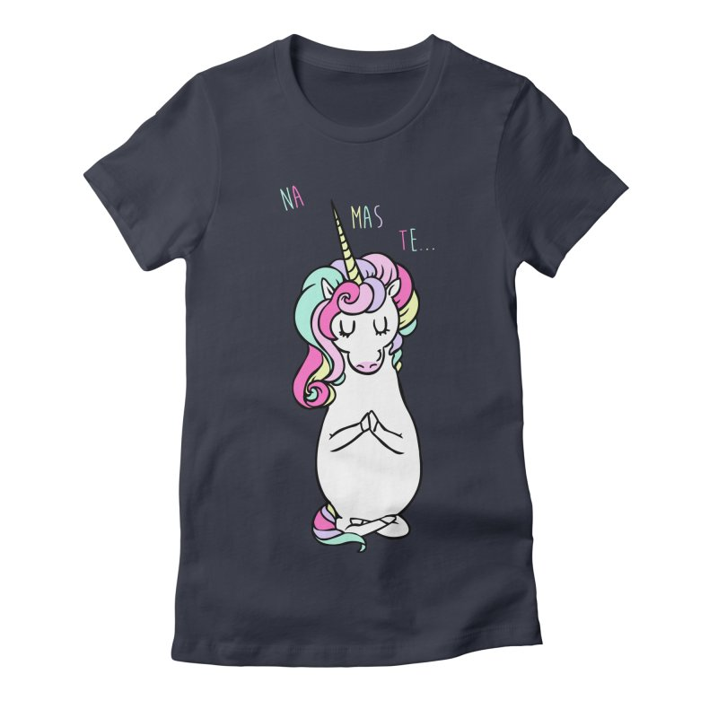 NAMASTE Unicorn Women's Fitted T-Shirt by huebucket's Artist Shop