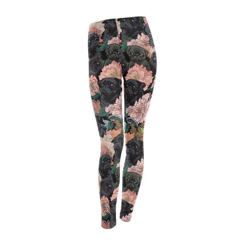 Because Black Pug Women's Leggings Bottoms by huebucket's Artist Shop