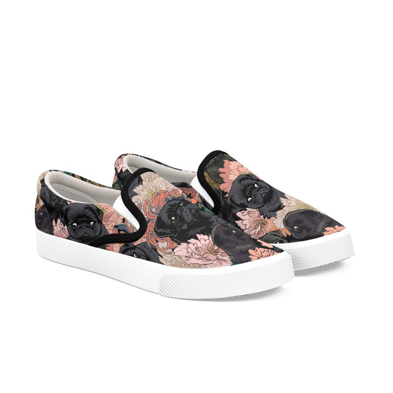 Because Black Pug Women's Slip-On Shoes by huebucket's Artist Shop
