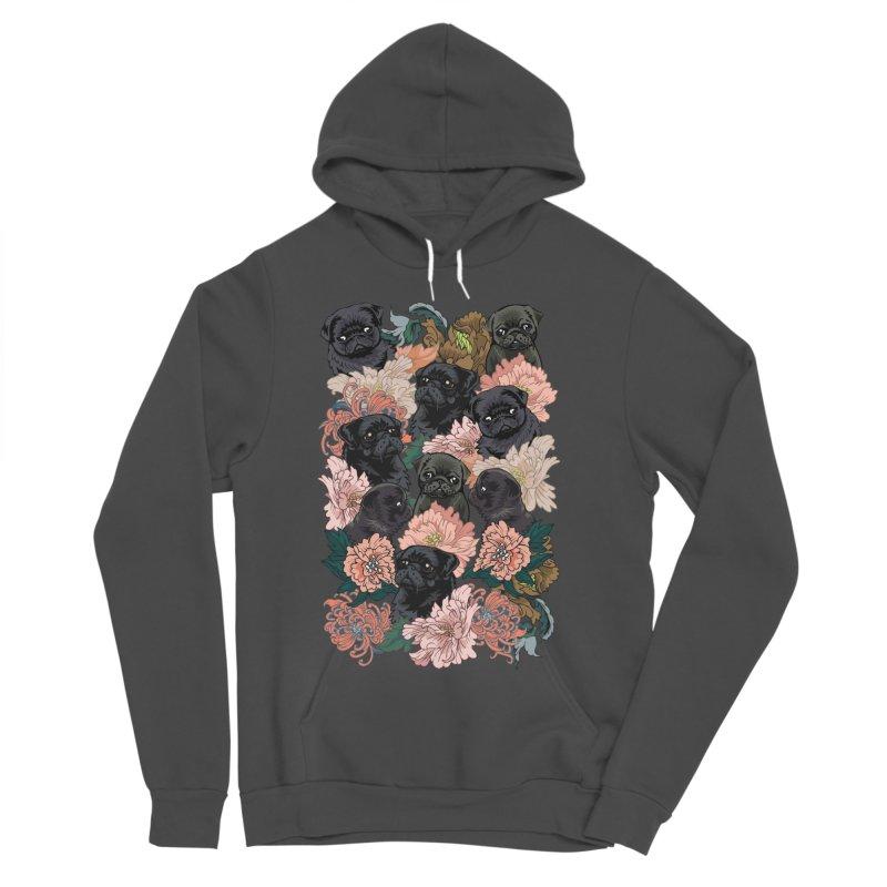 Because Black Pug Women's Sponge Fleece Pullover Hoody by huebucket's Artist Shop