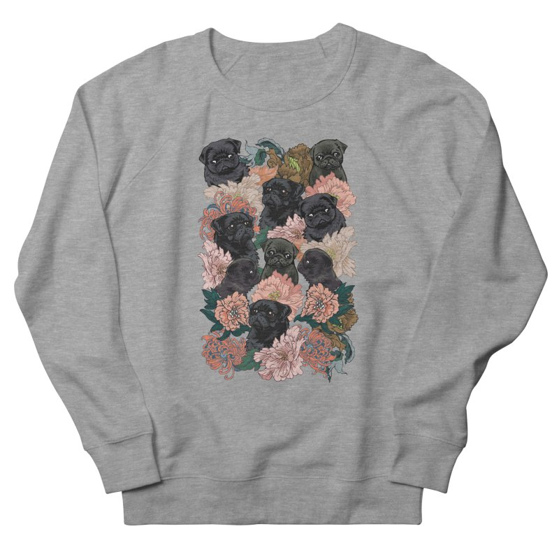 Because Black Pug Women's French Terry Sweatshirt by huebucket's Artist Shop