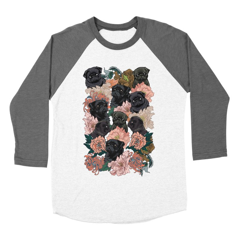 Because Black Pug Women's Baseball Triblend Longsleeve T-Shirt by huebucket's Artist Shop