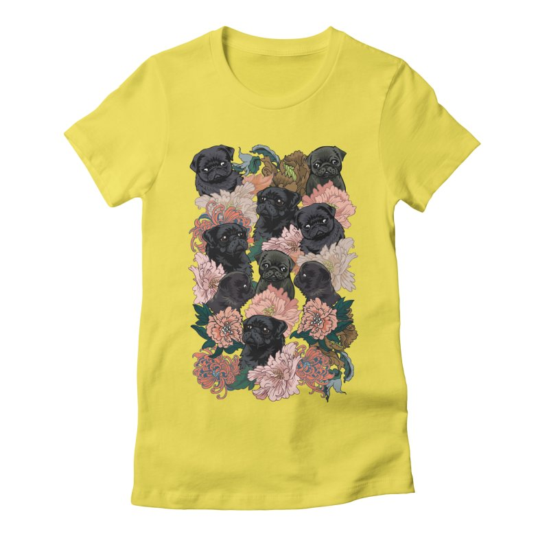 Because Black Pug Women's Fitted T-Shirt by huebucket's Artist Shop