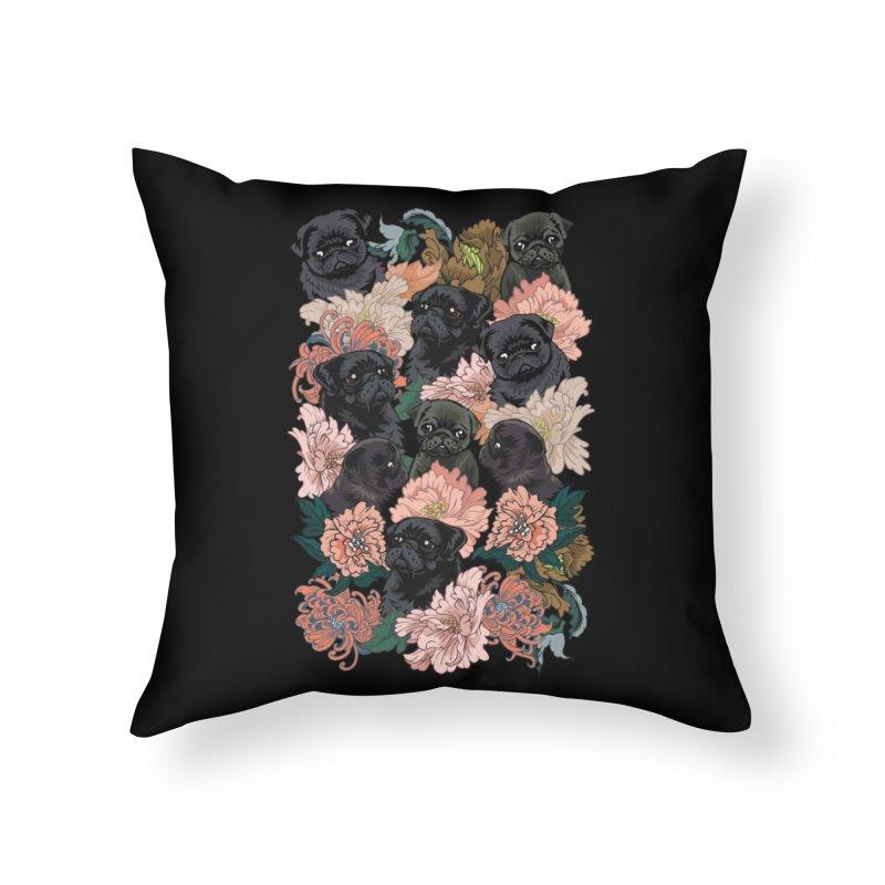Because Black Pug Home Throw Pillow by huebucket's Artist Shop