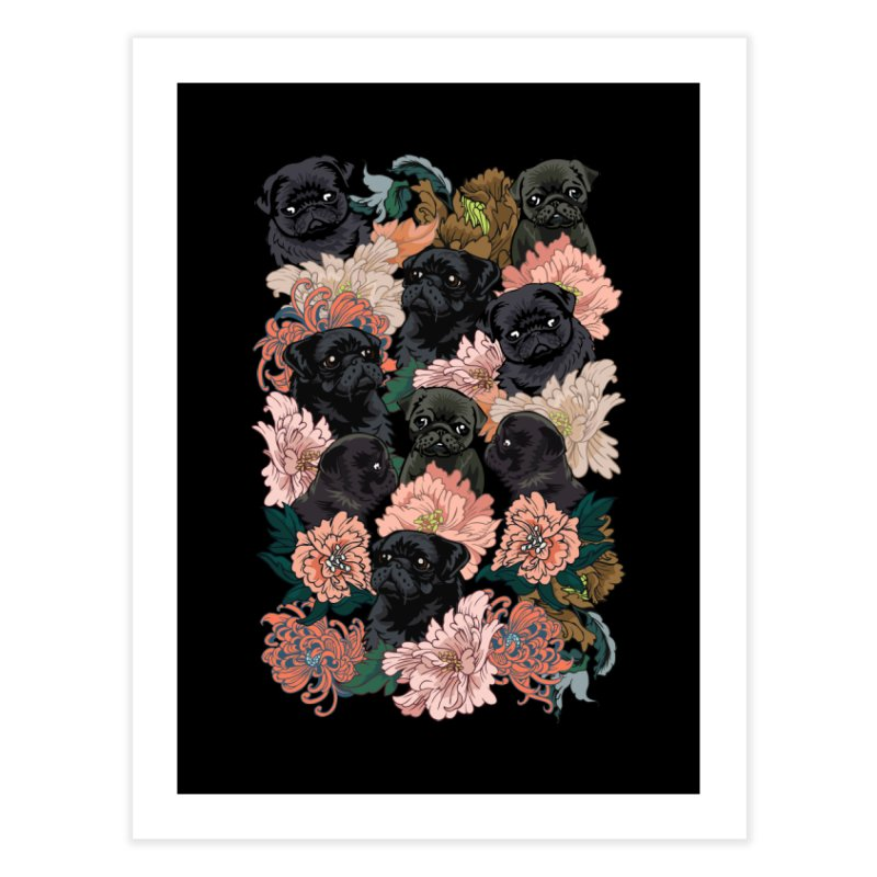 Because Black Pug Home Fine Art Print by huebucket's Artist Shop