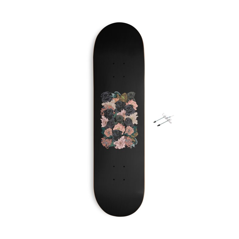 Because Black Pug Accessories With Hanging Hardware Skateboard by huebucket's Artist Shop