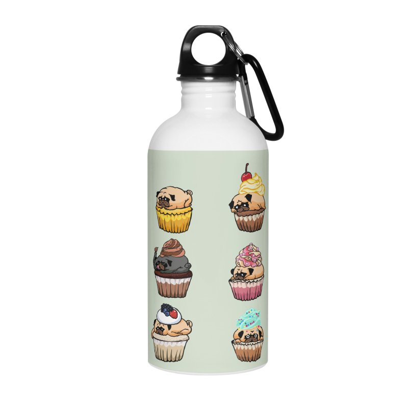 Cupcake Pugs Accessories Water Bottle by huebucket's Artist Shop