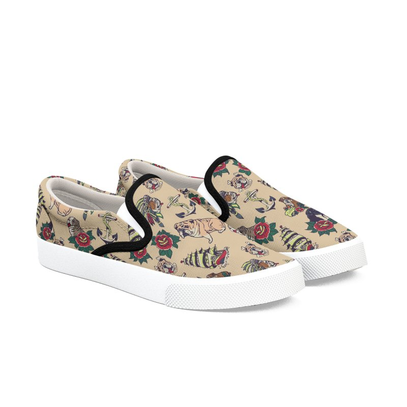 English Bulldog Tattoo Women's Slip-On Shoes by huebucket's Artist Shop