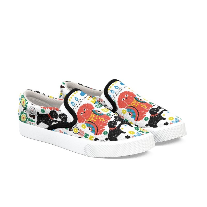 Scandinavian Poodle Women's Slip-On Shoes by huebucket's Artist Shop
