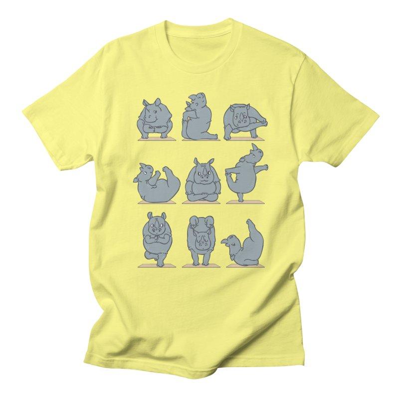 Rhino Yoga Men's Regular T-Shirt by huebucket's Artist Shop