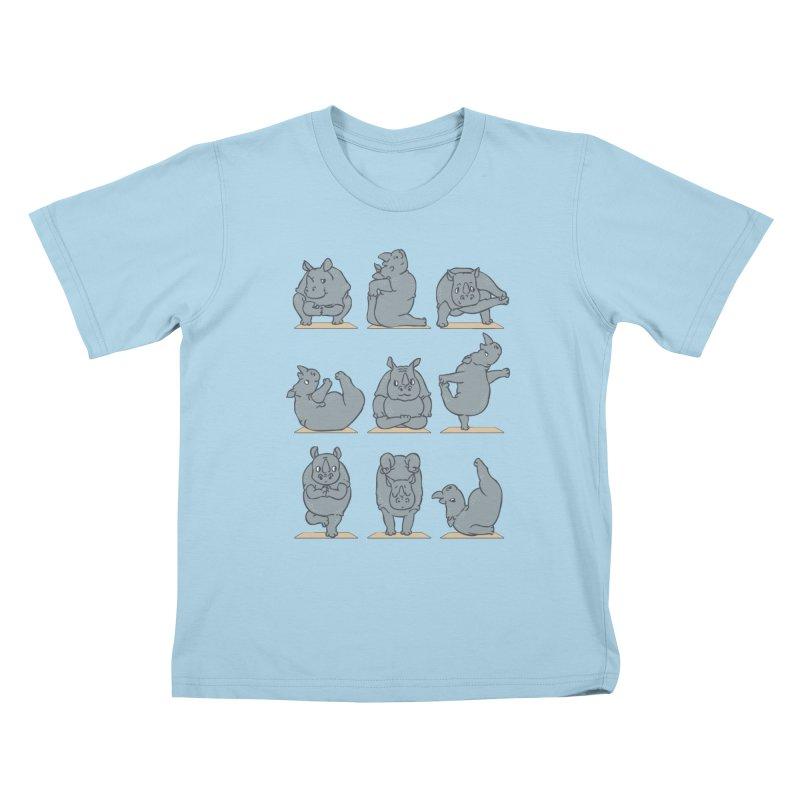 Rhino Yoga Kids T-Shirt by huebucket's Artist Shop