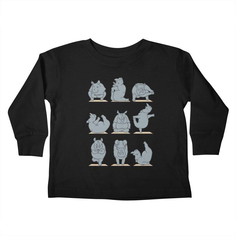 Rhino Yoga Kids Toddler Longsleeve T-Shirt by huebucket's Artist Shop