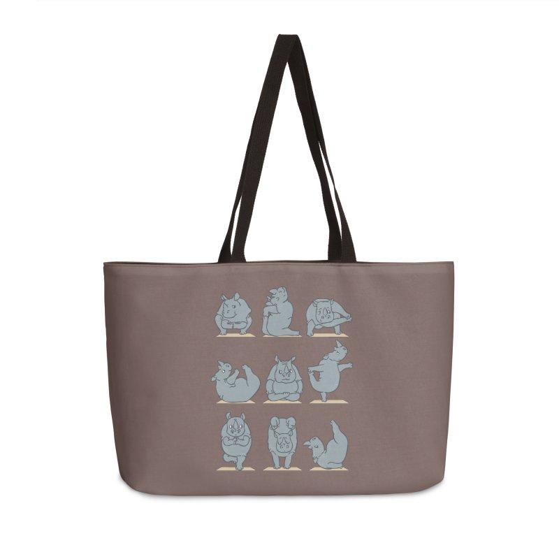 Rhino Yoga Accessories Weekender Bag Bag by huebucket's Artist Shop