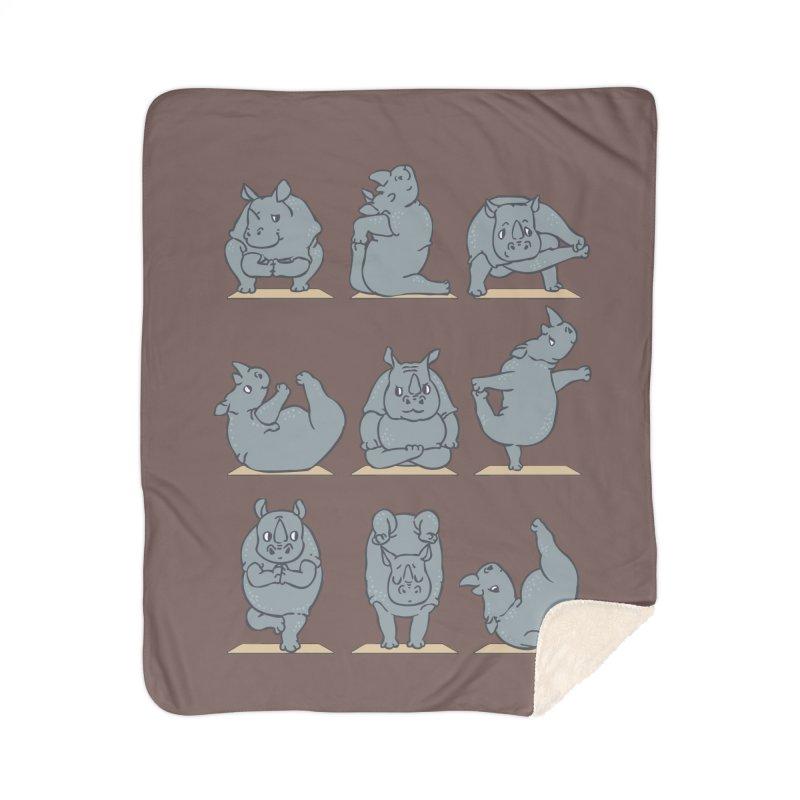 Rhino Yoga Home Sherpa Blanket Blanket by huebucket's Artist Shop