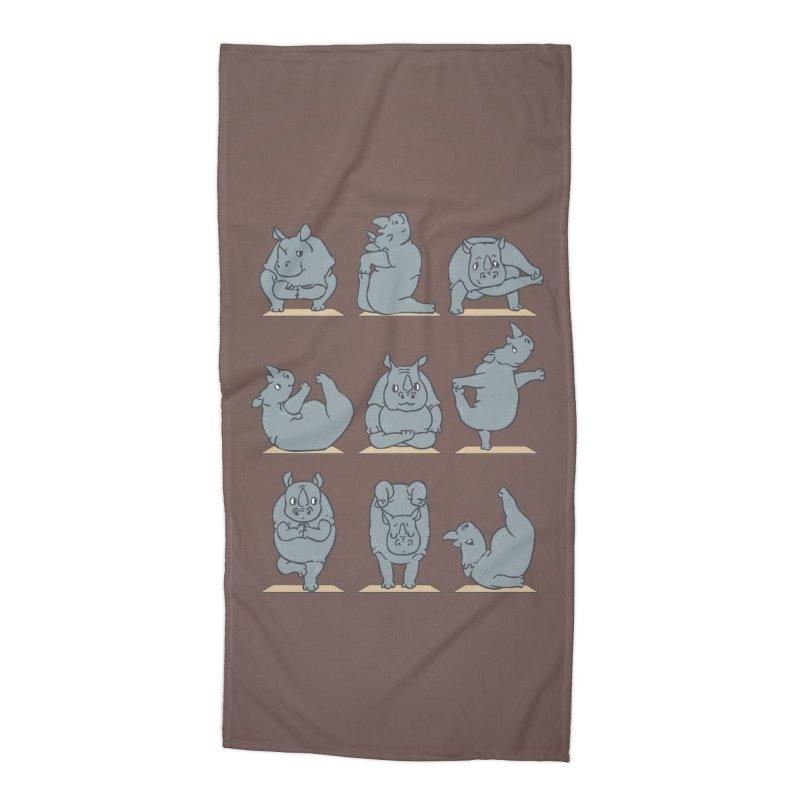 Rhino Yoga Accessories Beach Towel by huebucket's Artist Shop