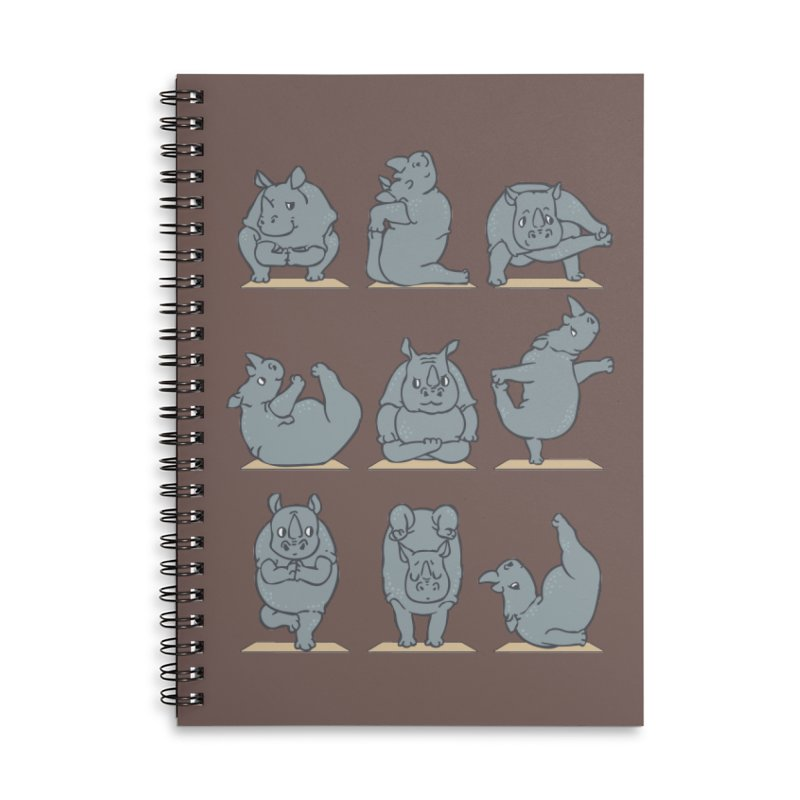 Rhino Yoga Accessories Lined Spiral Notebook by huebucket's Artist Shop