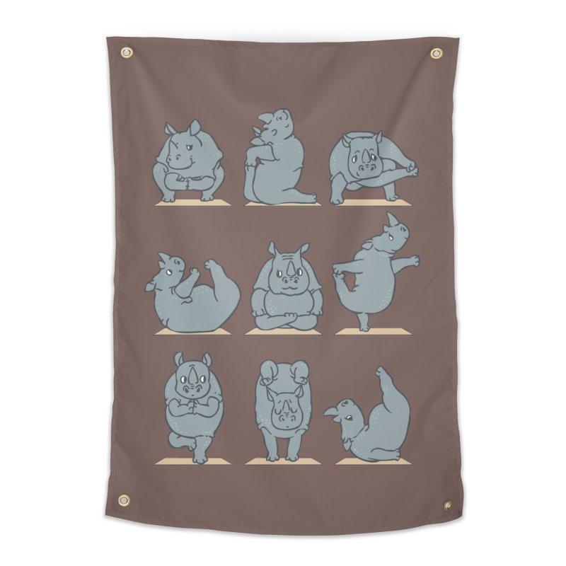 Rhino Yoga Home Tapestry by huebucket's Artist Shop