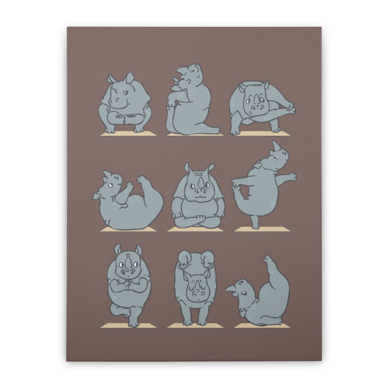 Rhino Yoga Home Stretched Canvas by huebucket's Artist Shop