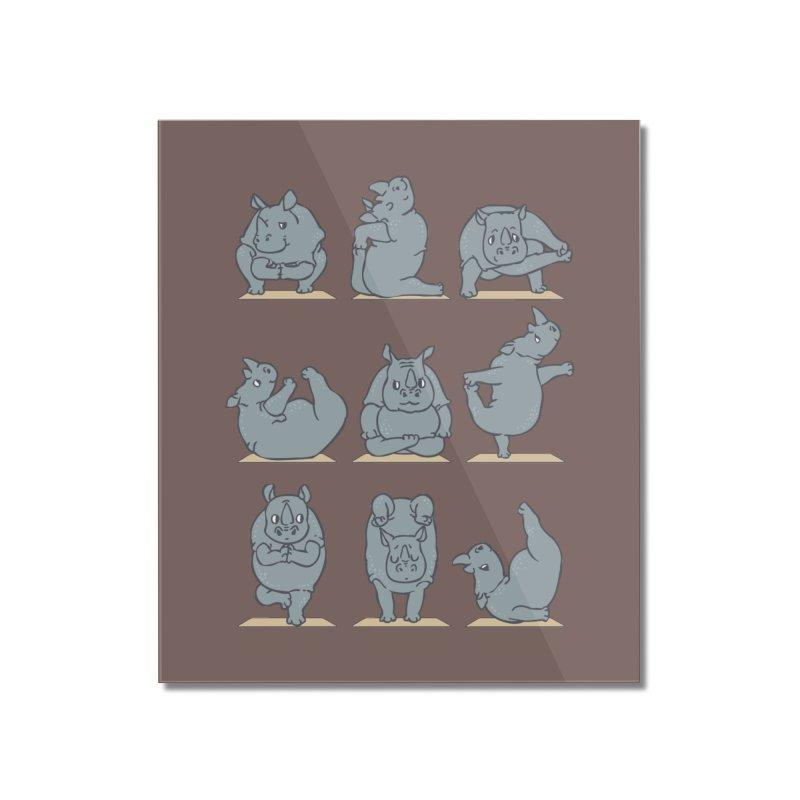 Rhino Yoga Home Mounted Acrylic Print by huebucket's Artist Shop