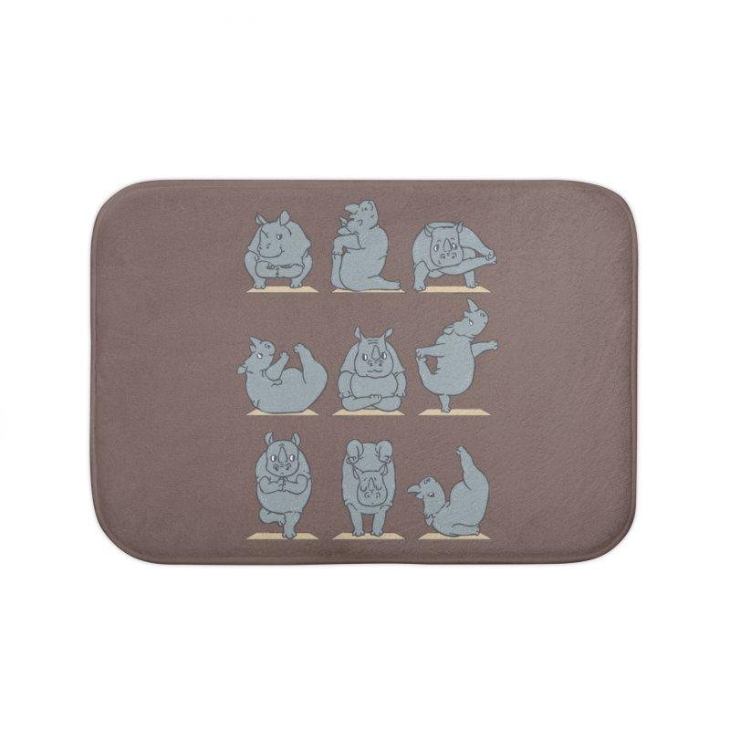 Rhino Yoga Home Bath Mat by huebucket's Artist Shop