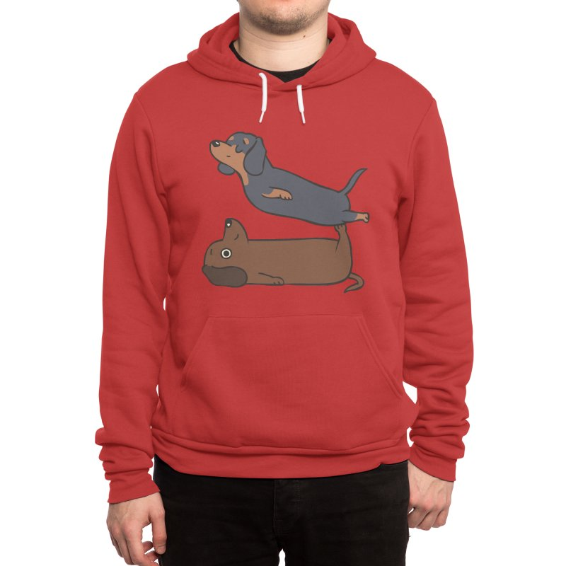 Acroyoga Dachshund Men's Pullover Hoody by huebucket's Artist Shop