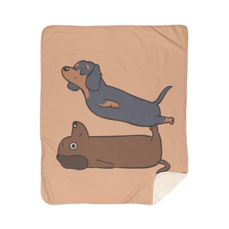 Acroyoga Dachshund Home Sherpa Blanket Blanket by huebucket's Artist Shop