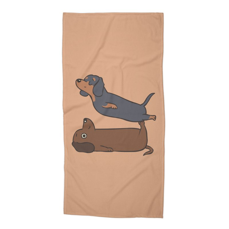 Acroyoga Dachshund Accessories Beach Towel by huebucket's Artist Shop