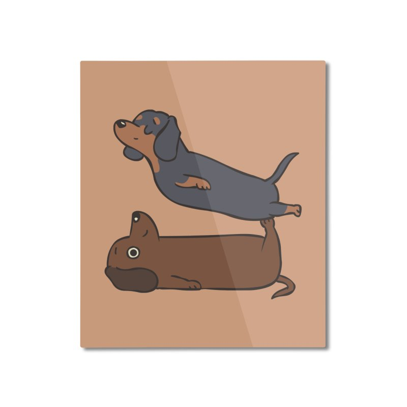 Acroyoga Dachshund Home Mounted Aluminum Print by huebucket's Artist Shop