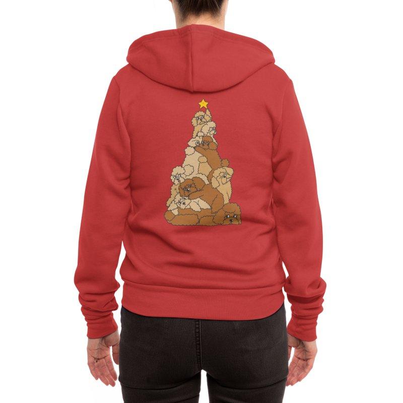 Christmas Tree Poodle Women's Zip-Up Hoody by huebucket's Artist Shop