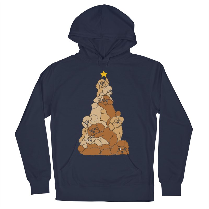 Christmas Tree Poodle Men's French Terry Pullover Hoody by huebucket's Artist Shop