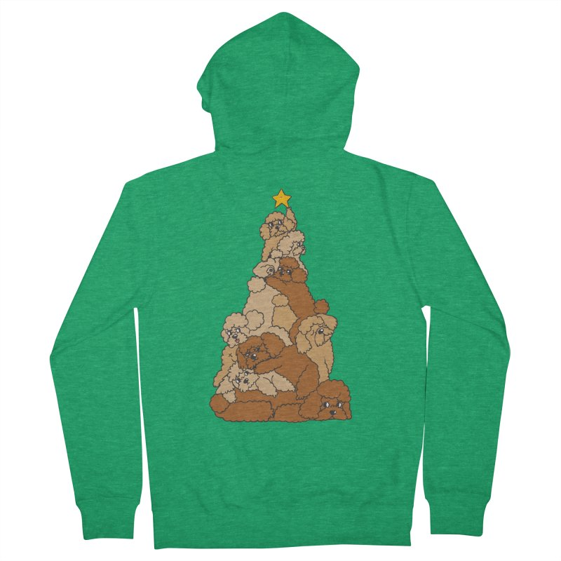 Christmas Tree Poodle Women's French Terry Zip-Up Hoody by huebucket's Artist Shop