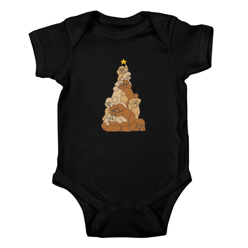Christmas Tree Poodle Kids Baby Bodysuit by huebucket's Artist Shop