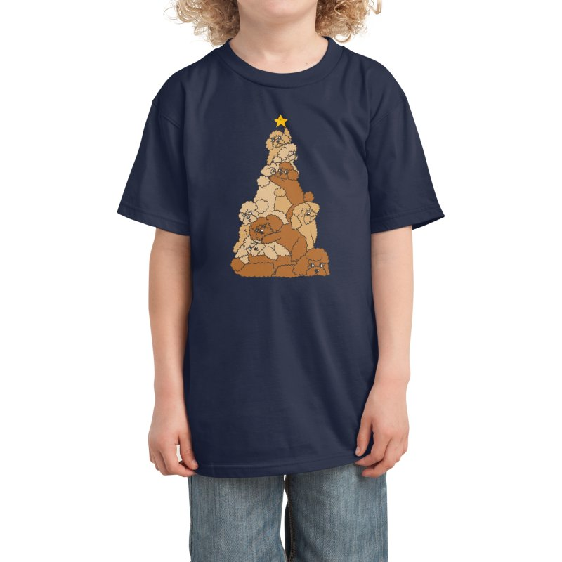 Christmas Tree Poodle Kids T-Shirt by huebucket's Artist Shop
