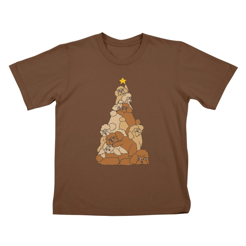 Christmas Tree Poodle Kids T-Shirt by huebucket's Artist Shop