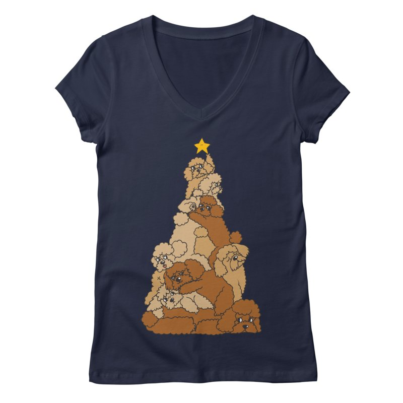 Christmas Tree Poodle Women's Regular V-Neck by huebucket's Artist Shop