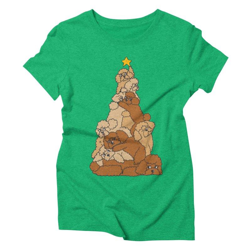 Christmas Tree Poodle Women's Triblend T-Shirt by huebucket's Artist Shop
