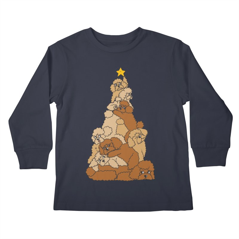 Christmas Tree Poodle Kids Longsleeve T-Shirt by huebucket's Artist Shop