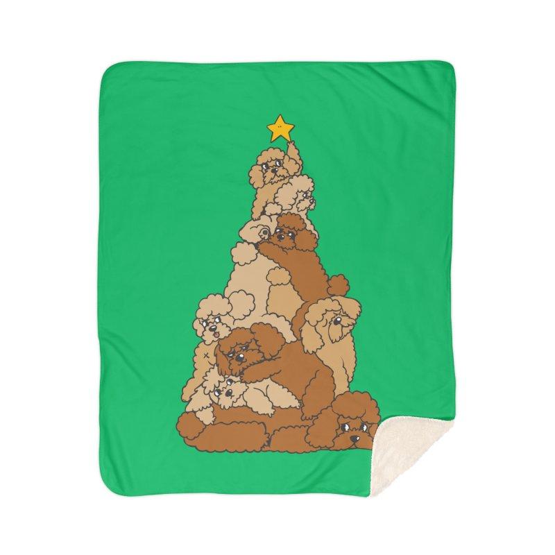 Christmas Tree Poodle Home Sherpa Blanket Blanket by huebucket's Artist Shop
