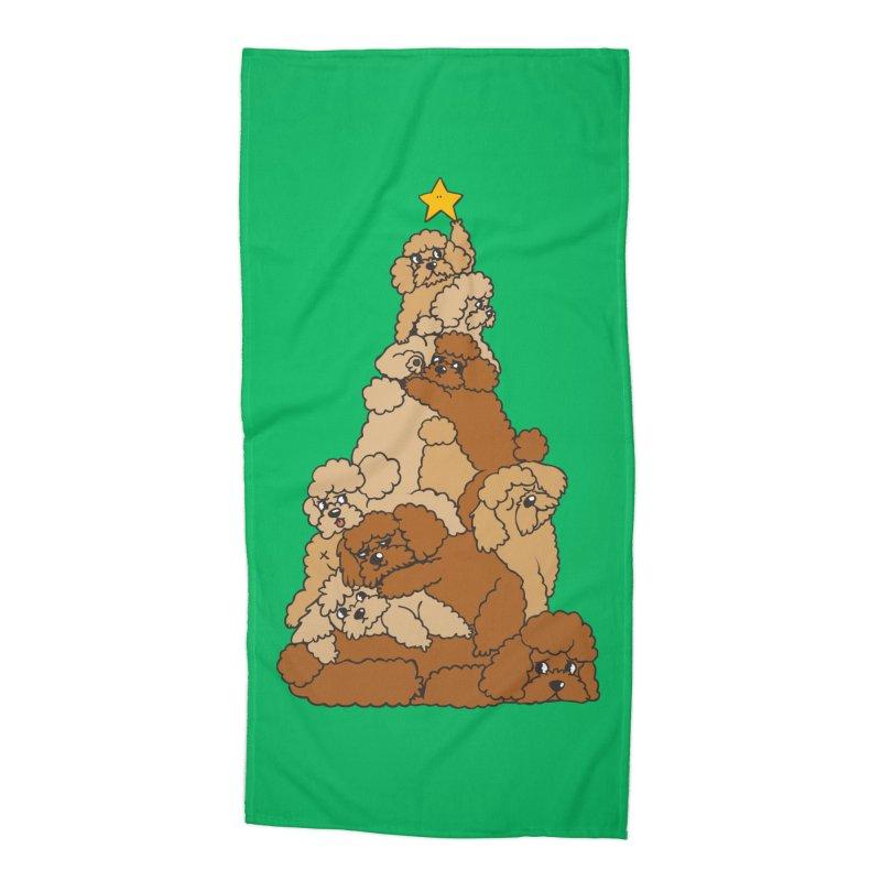 Christmas Tree Poodle Accessories Beach Towel by huebucket's Artist Shop