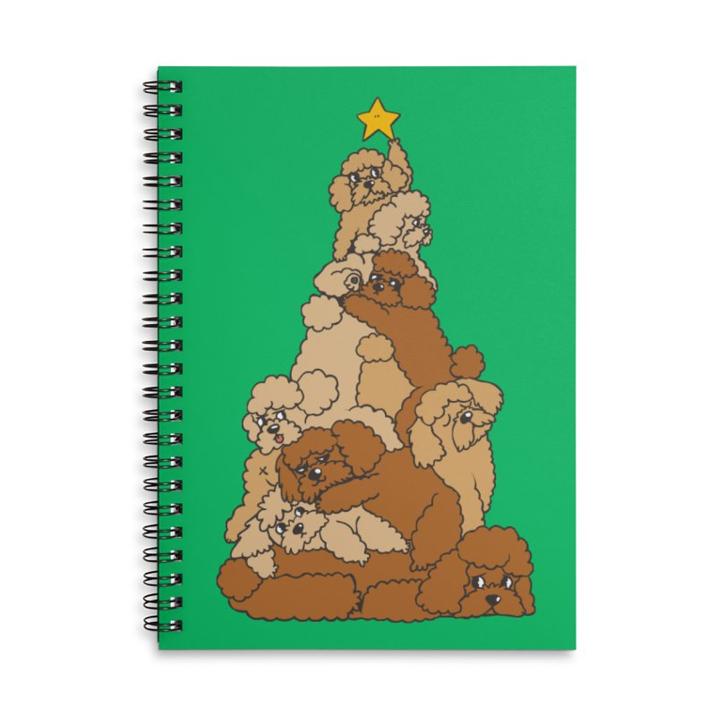 Christmas Tree Poodle Accessories Lined Spiral Notebook by huebucket's Artist Shop