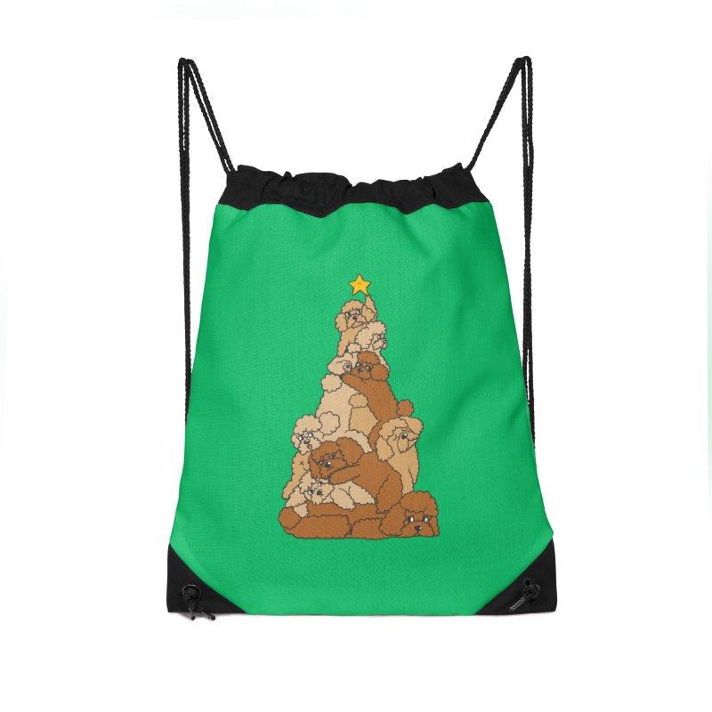 Christmas Tree Poodle Accessories Drawstring Bag Bag by huebucket's Artist Shop